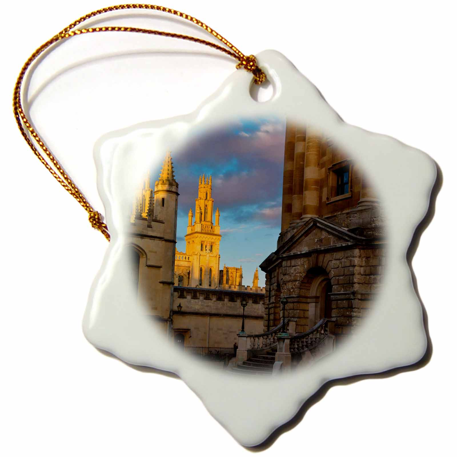3dRose Radcliffe Camera and the towers of All Souls College, Oxford, England - Snowflake Ornament, 3-inch
