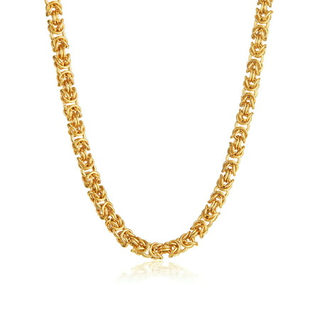 Gold Plated Byzantine Stainless Steel Chain Necklace (8mm) - 21