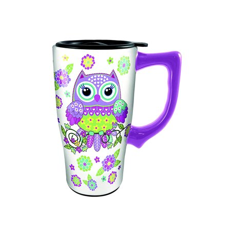 Novelty Drinkware Spoontiques Owl Purple Ceramic 16oz Travel Mug (Attitude Ceramic Travel Mug)