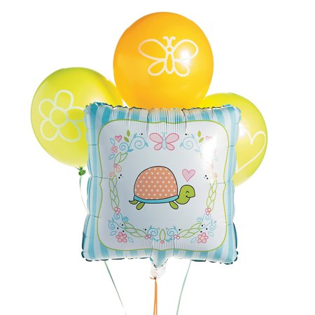 Turtle Baby Shower (Fun Express - Girl Turtle Balloon Asst (4pc) for Baby - Party Decor - Balloons - Latex Balloons - Baby - 4)