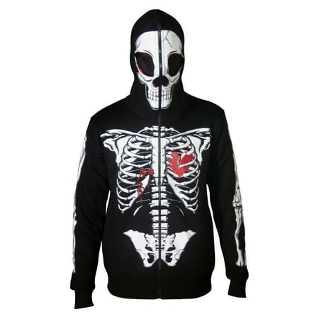 Black Mask Costume (Men Full Face Mask Skeleton Skull Hoodie Halloween Costume Hoodie Black)
