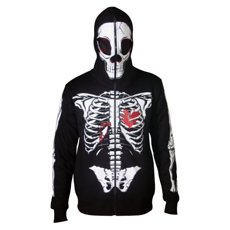 Men Full Face Mask Skeleton Skull Hoodie Halloween Costume Hoodie Black Small