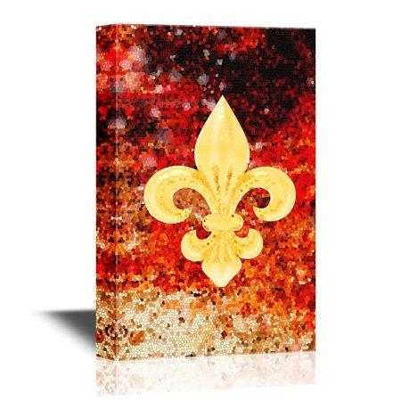 wall26 Canvas Wall Art - Fleur De Lis Flower on Abstract Red Flame Background - Gallery Wrap Modern Home Decor | Ready to Hang - 32x48 - Painted Fleur De Lis