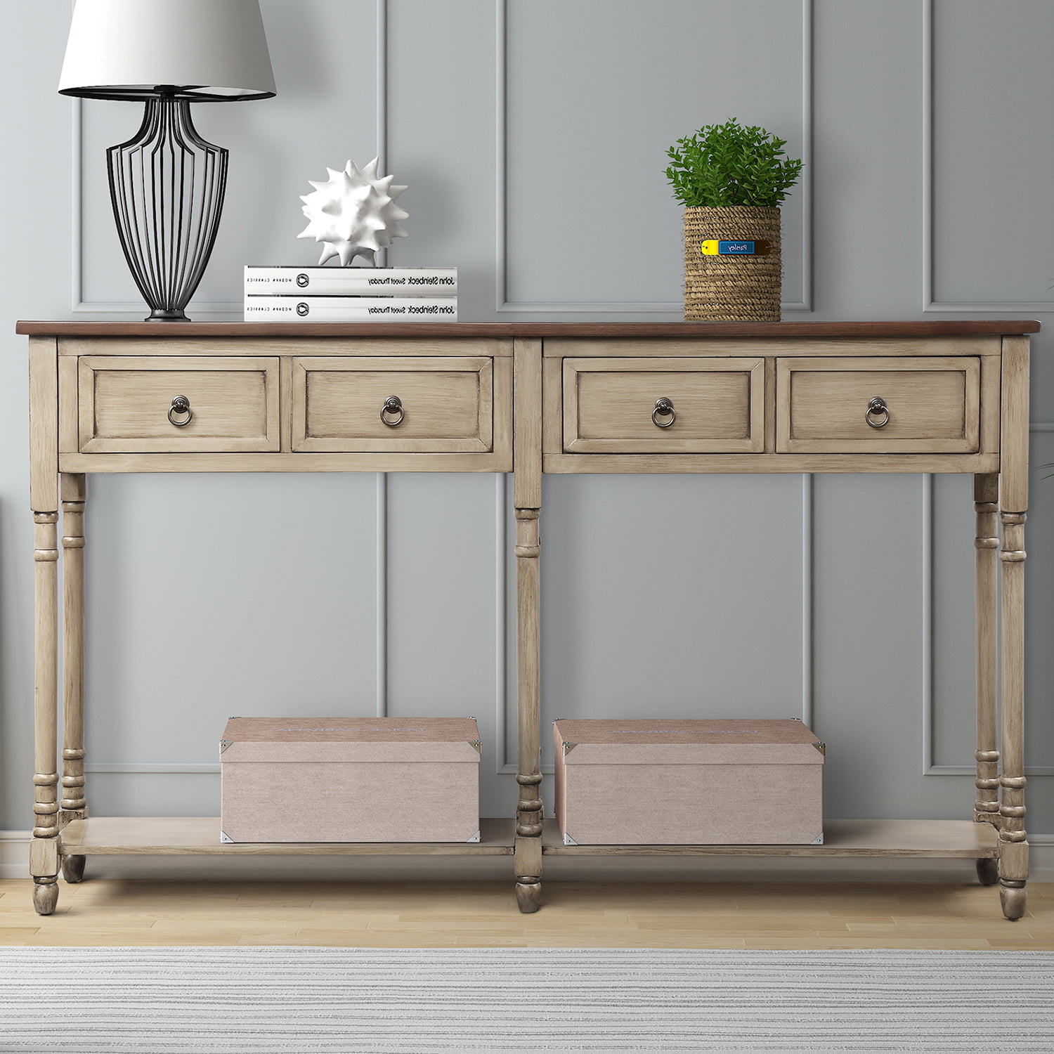 Picture of: Tall Console Table With 2 Big Storage Drawers 58 X 11 X 34 Wood Buffet Sideboard Desk W Bottom Shelf Retro Tall Parsons Console Table Accent Table For Entryway 99lbs Antique Grey S6393