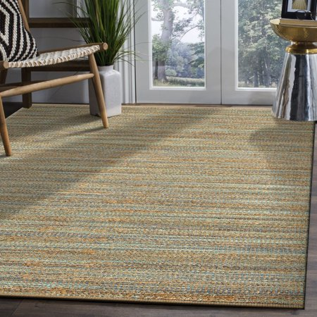 LR Home Natural Fiber Sonora Aqua Blue / Teal Green Rectangle 8x10 Plush Indoor Area Rug