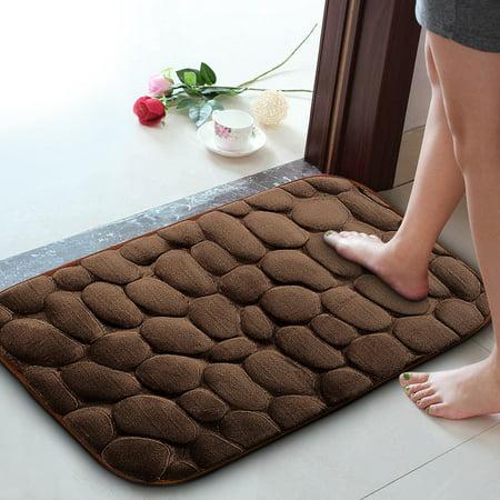 Pebble Kitchen - Door Mat Entryway Floor Mat Highly Absorbent & Non-slip Indoor & Outdoor Carpet Pebble Rock Bath Rug Bath Floor Door Mat Kitchen Bathroom - 24'' x 16''