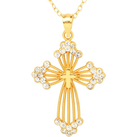 Crystal Accent 18kt Gold over Sterling Silver Cross Pendant, 18