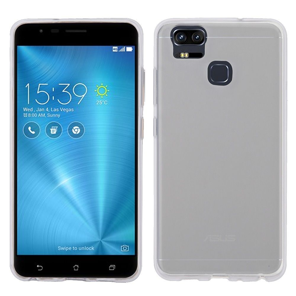 Insten Glassy Transparent SPOTS TPU Rubber Candy Skin Gel Case For ASUS Zenfone 3 - Clear (Bundle with USB Type C Cable)