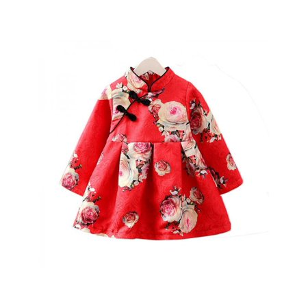 Lavaport 1-5Y Toddler Chinese Festival Cheongsam Dress Kids Girl Qipao Dress Phoenix Chinese Dresses