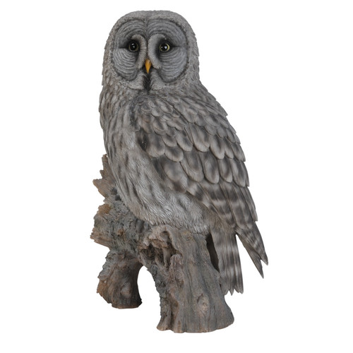 GREY OWL ON STUMP STATUE