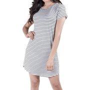 Womens Round Hem Striped T-Shirt Dress (White/Black, Medium)