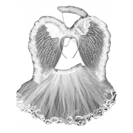 4 Different Themes Toddler Girl's Dress-Up or Costume Wing and Tutu Sets - White Angel Set - Couture Costume D'halloween