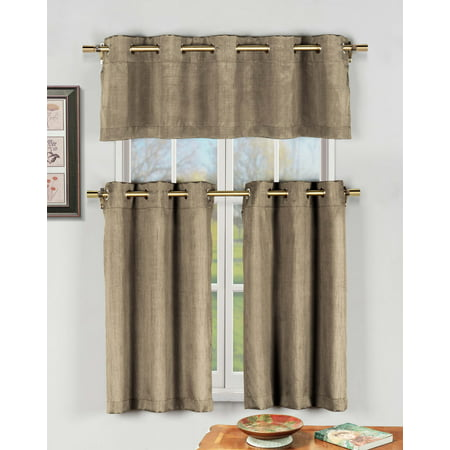 taupe 3 pc kitchen window curtain set with silver metal grommets 1 valance 2 tier panels. Black Bedroom Furniture Sets. Home Design Ideas