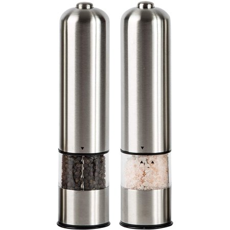 Peroptimist 1 Pack Salt Grinder - Battery Powered Refillable Stainless Steel Mills - Adjustable Ceramic Grinders - One-handed Automatic