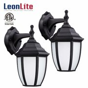 LEONLITE 9W Outdoor Wall Lantern, LED Wall Lights, for Front Door, Porch, 3000K Warm White, Pack of 2