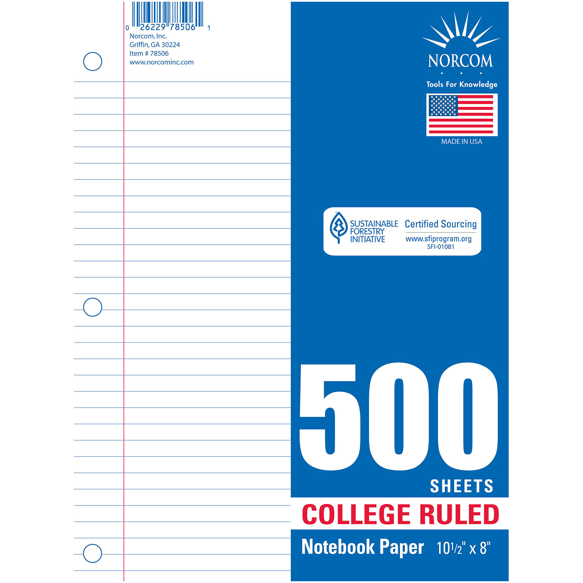 Norcom College Rulet Filler Paper, 500 sheets