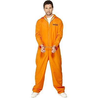 smiffy's men's escaped prisoner costume with boiler suit, orange, medium