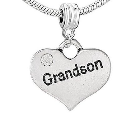 Heart 2 Sided w/  Crystal Stones Grandson Charm Crystal Open Heart Charm