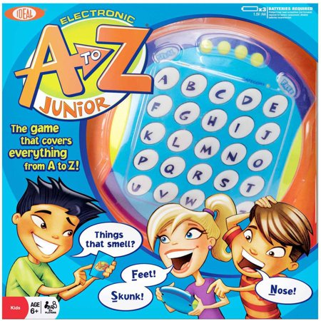 Ideal Electronic A to Z Junior Kid's version with easier and more kid-relevant cards! A to Z is the think-fast, shout it out game that makes players rack their brains for items within categories that begin with different letters. Race the clock and your opponent in the game that lights up everything from A to Z  be the first player to turn off all the letters on the board and you win! Includes an electronic game board, A to Z Junior category cards and instructions for two or more players.