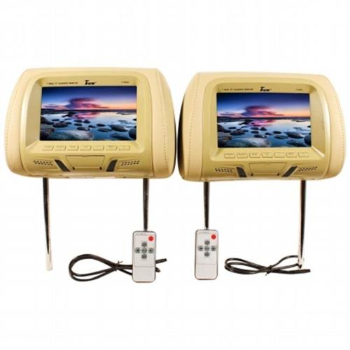 UEI T726PLTAN 7 inch Dual Headrest Widescreen TFT LCD Car Monitors - Tan