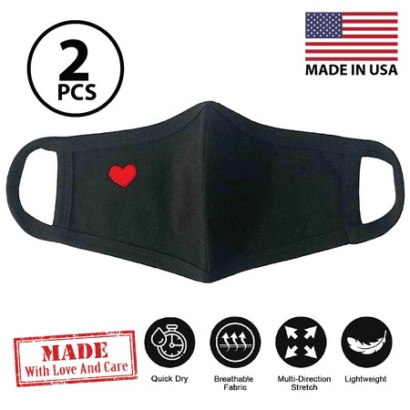 (Pack of 2) Soft Cotton Face Covering Mask Unisex Washable Reusable Fashion Heart- Made In USA
