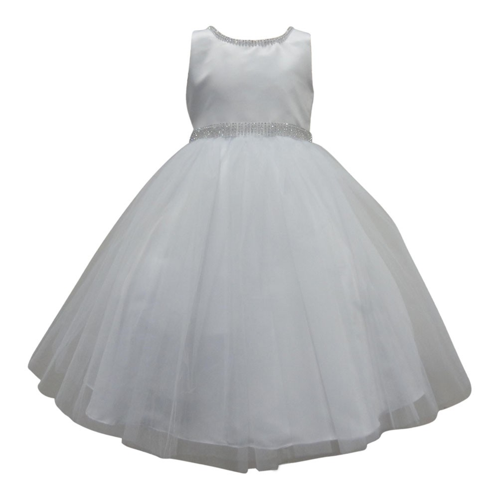 S. Square Big Girls White Beaded Neckline Waist Satin Junior Bridesmaid Dress 10