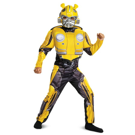 Transformers Bumblebee Movie Bumblebee Classic Muscle Child Halloween Costume - Kids Face Painted For Halloween