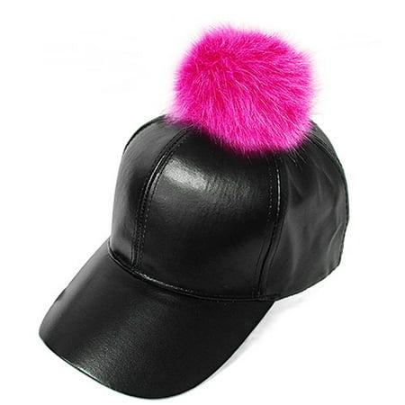 Fur Pom Pom Adjustable Snapback Faux Leather Precurved Baseball Cap - Hot  Pink on Black - Walmart.com c42bd4db7dc