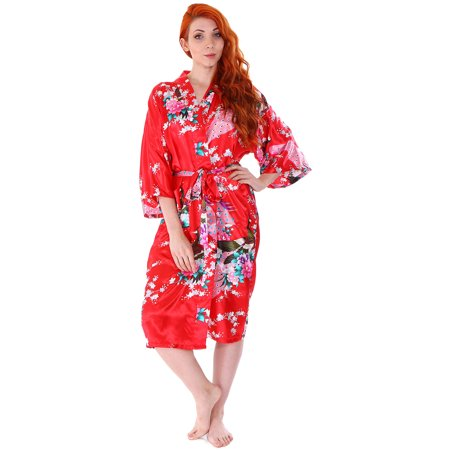 Soft and Comfortable Women Lades Pajamas Kimono Print Peacock Nightgown - Red