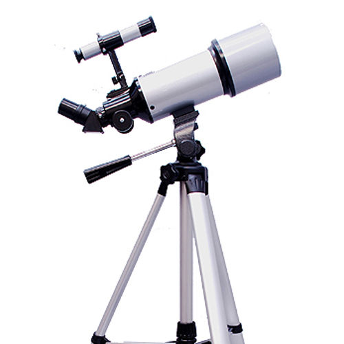 Twinstar 80mm Refractor Telescope with Full Size Tripod, Silver