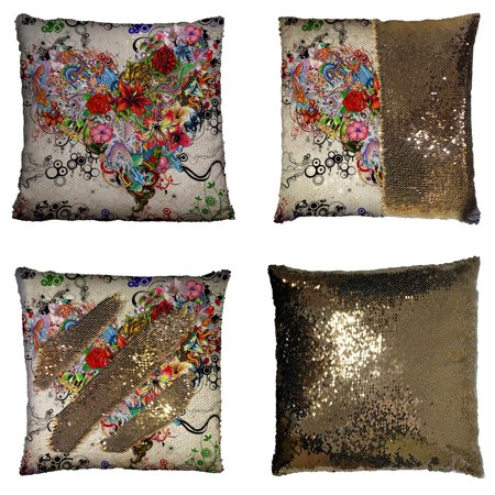 GCKG Wallpaper Stars Flowers Heart Emotions Colorful Reversible Mermaid Sequin Pillow Case Home Decor Cushion Cover 16x16 inches