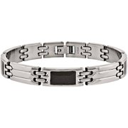 Stainless Steel Black Carbon Fiber Bracelet, 8.5