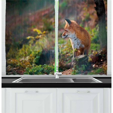 Fox Curtains 2 Panels Set, Young Red Fox Listening to Something in Woodland Forest Wildlife Predator, Window Drapes for Living Room Bedroom, 55W X 39L Inches, Pale Brown White Green, by Ambesonne - Woodland Fox