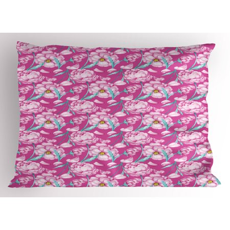 Magenta Pillow Sham Peony Flowers Blossom in Vibrant Colors Watercolor Japanese Feminine Bouquet Art, Decorative Standard Size Printed Pillowcase, 26 X 20 Inches, Hot Pink, by