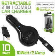 Cellet 2.1A / 10W Apple Certified Retractable Lightning Car Charger with Micro USB for iPhone Xs Max, Xr, Xs, X, 7, 7Plus, 8, 8Plus & Android Phones