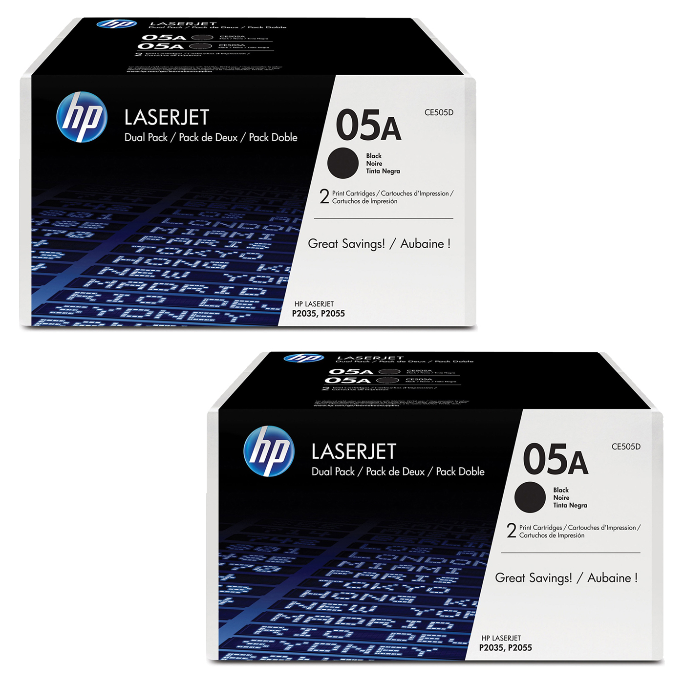Buy two HP05A Black Toner dual packs and get $25 off