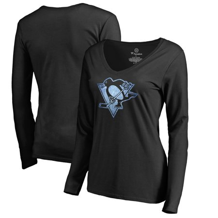 Pittsburgh Penguins Women's Pond Hockey Long Sleeve T-Shirt - Black - Pittsburgh Penguins Party Supplies
