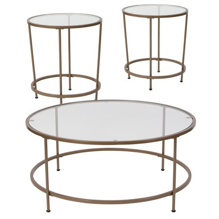 Astoria Collection Flash Furniture 3 Piece Coffee and End Table Set with Glass Tops and Matte Gold Frames