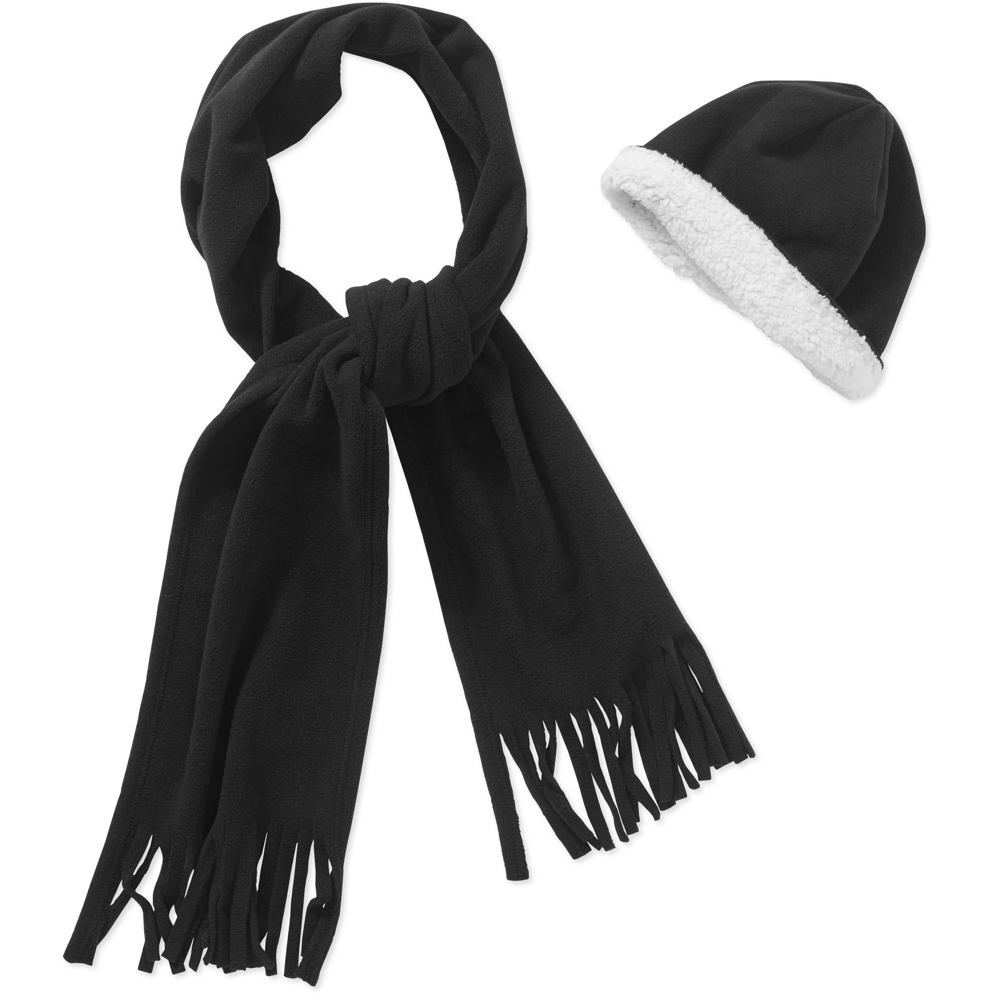 Women's Fringe Scarf and Beanie 2 Piece Set