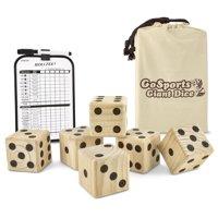 GoSports Giant Wooden Playing Dice Set for Jumbo Size Fun, Includes 6 Dice and Canvas Carrying Bag