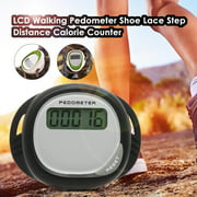 LCD Walking Pedometer Shoe Lace Step Distance Calorie Counter Walking Step Gym Calorie Tracker for Outdoor Sports