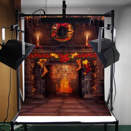 5x7FT Photo Studio Props Equitment Vinyl Fabric Photography Background Backdrop Christmas Fireplace Home Decor](Christmas Props Photography)