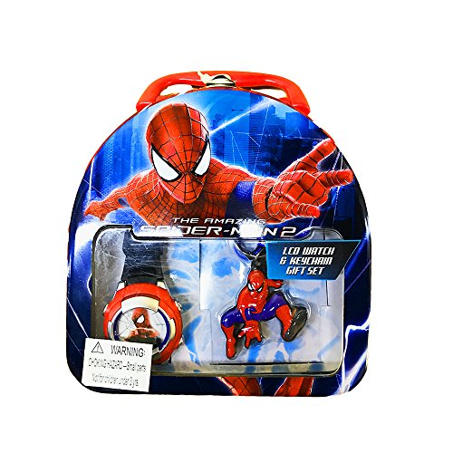 Marvel Kids' ASM2008T Spider-Man Digital Watch and Keychain Two-Piece Gift Set