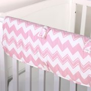 The Peanut Shell Baby Crib Rail Guard - Pink Zig Zag Chevron Print - 100% Cotton Sateen Cover, Polyester Fill