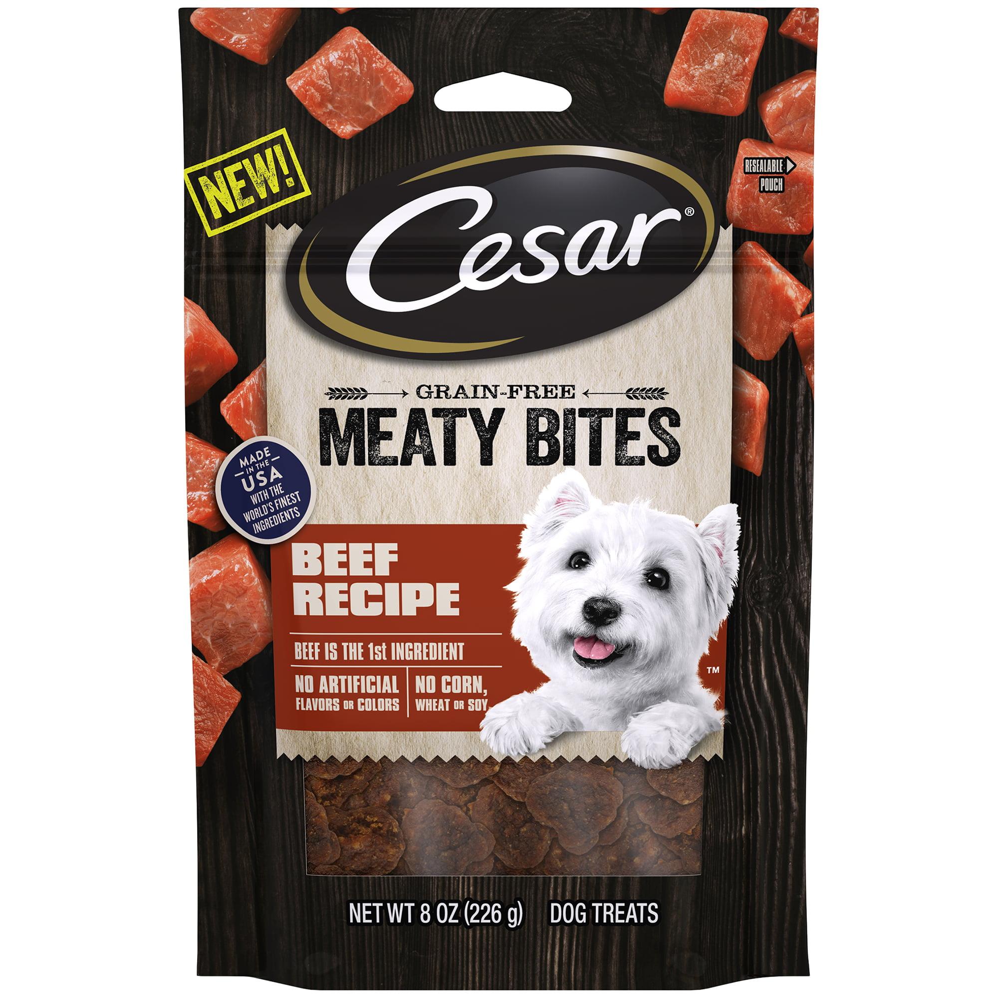 Cesar Meaty Bites Grain Free Dog Treats Beef Recipe, 8 oz. Pouch