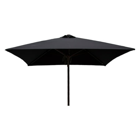 DestinationGear Classic Wood 6.5' Square Patio Umbrella, Black ()