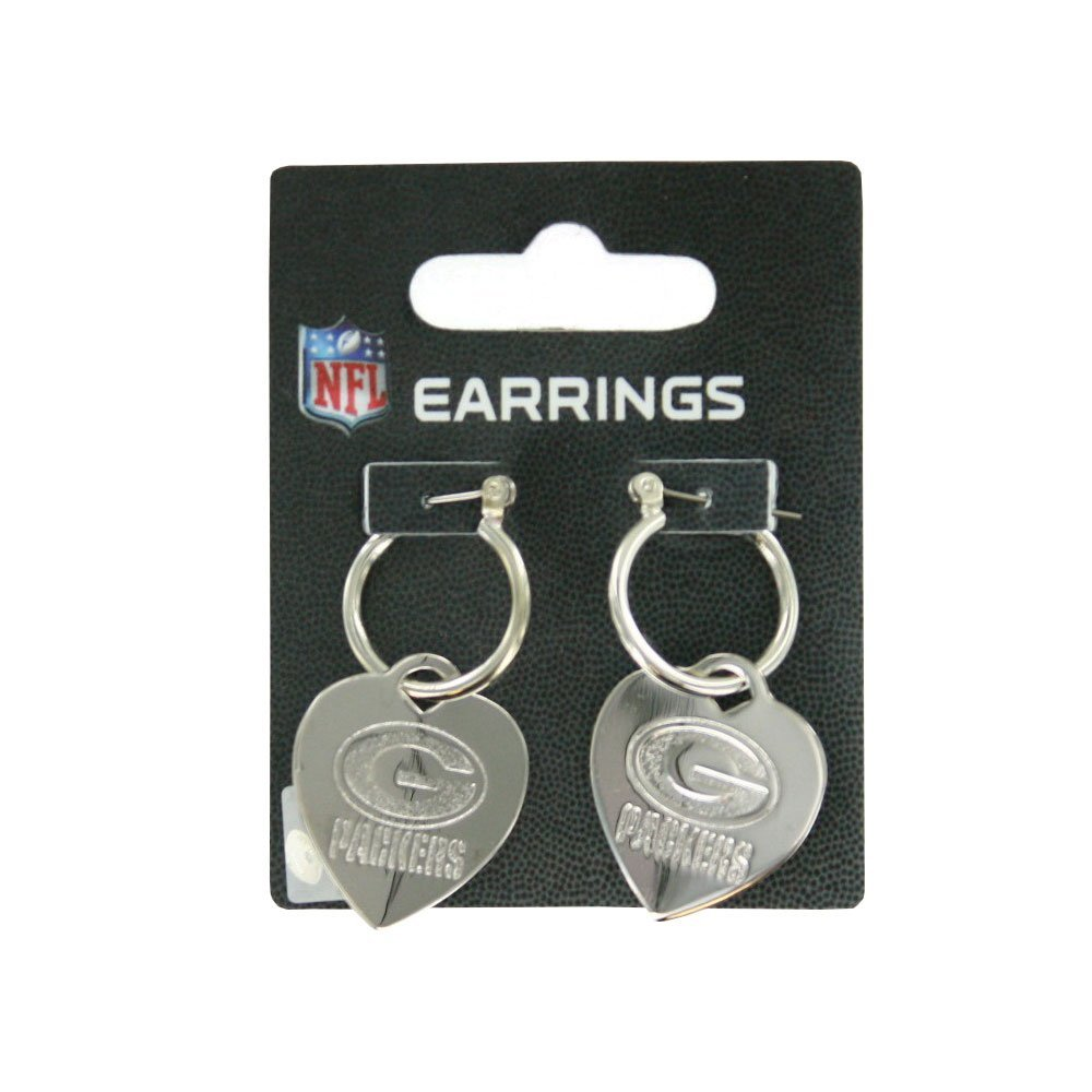 Green Bay Packers Heart Tag Earrings, Silver-tone By aminco