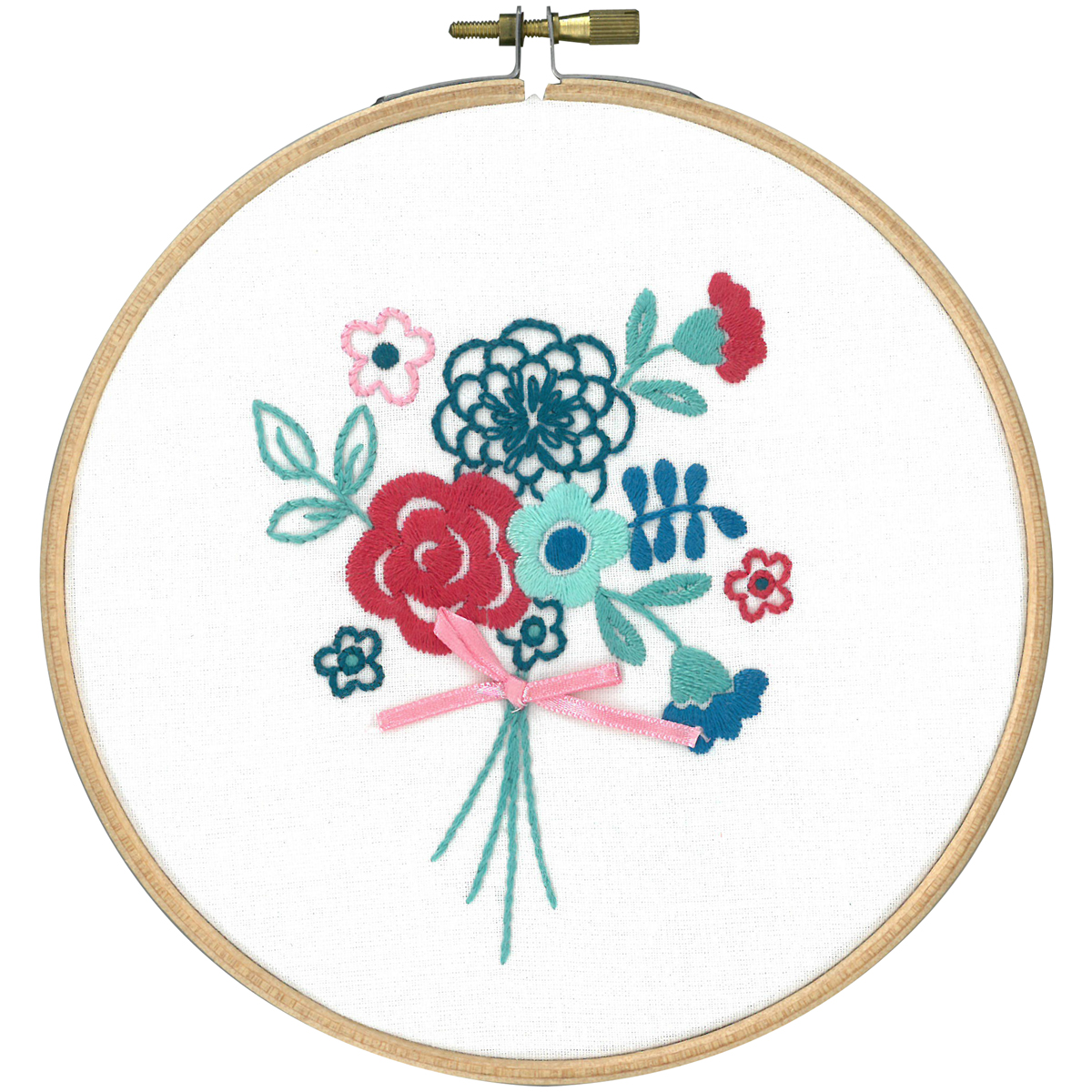 "Modern Flowers W/Bow Stamped Embroidery Kit-5.8"" Round"