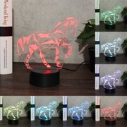 LED Horse 3D Night Light 7 Color Change USB Lamp Touch Remote Control  Kids Children Toy Gift Decor