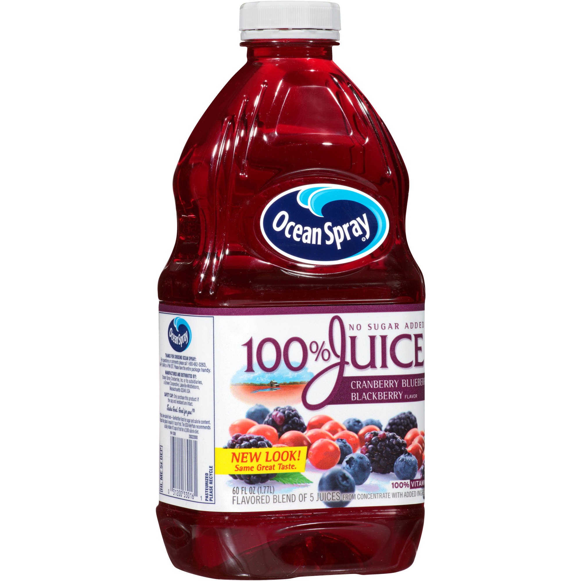 Ocean Spray No Sugar Added Cranberry Blueberry Blackberry, 100% Juice, 60 fl oz